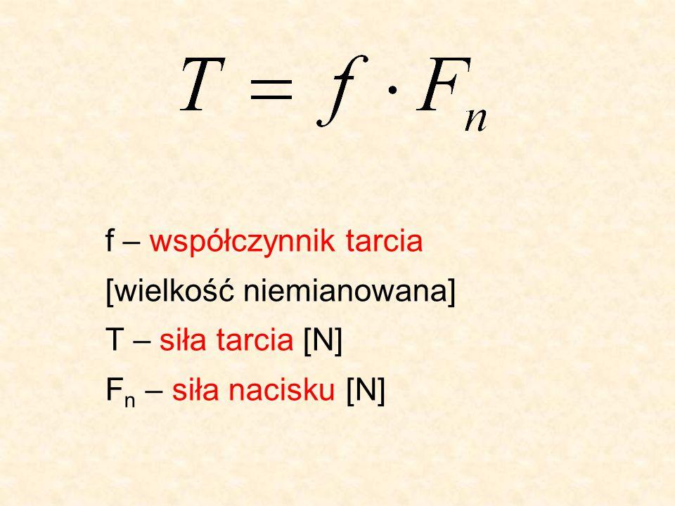 f – współczynnik tarcia [wielkość niemianowana] T – siła tarcia [N] Fn – siła nacisku [N]